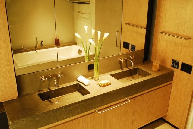 Concrete bathroom countertop with double sink modern for Bathroom countertop accessories