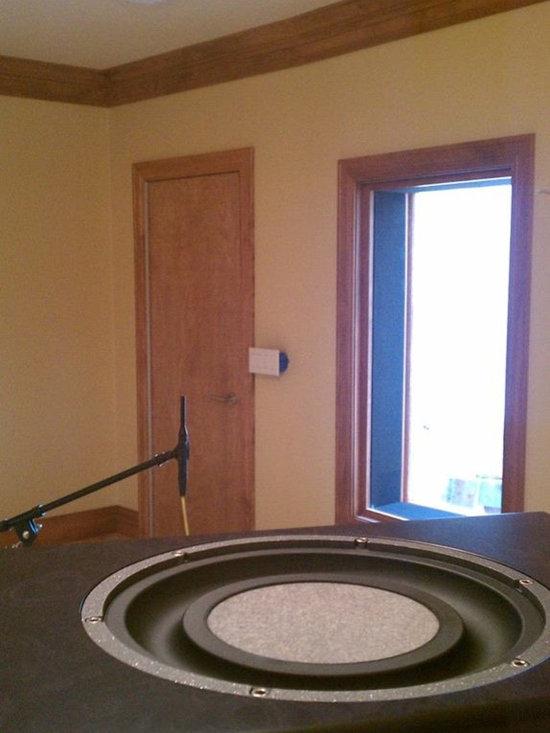 Home Recording Studio with Custom Soundproof Doors and Window Treatment -