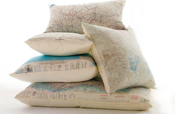 Silk Aviator Map Cushion By Atelier688 eclectic pillows