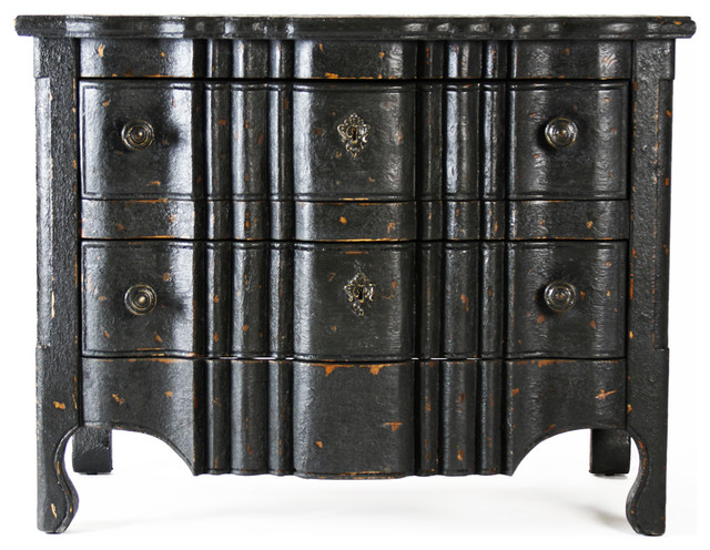 Elysee Masculine Antique Black French Country Commode Chest transitional-dressers-chests-and-bedroom-armoires
