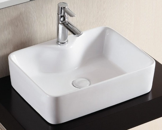 "Caracalla - Beautiful White Ceramic Rectangular Vessel Bathroom Sink - Caracalla designed this beautiful above counter vessel sink in Italy. Contemporary rectangular bathroom sink with flat washbasin made of high quality white ceramic. Sink includes a single faucet hole but no overflow. Sink dimensions: 19.29"" (width), 5.12"" (height), 14.96"" (depth)"