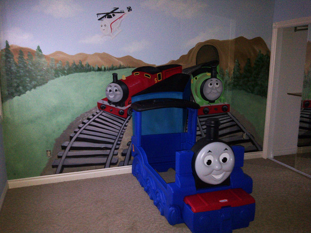 thomas the train mural kid 39 s room michigan. Black Bedroom Furniture Sets. Home Design Ideas