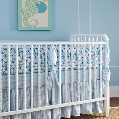 Little House Crib Bedding Set Honeycomb Blue Contemporary Baby