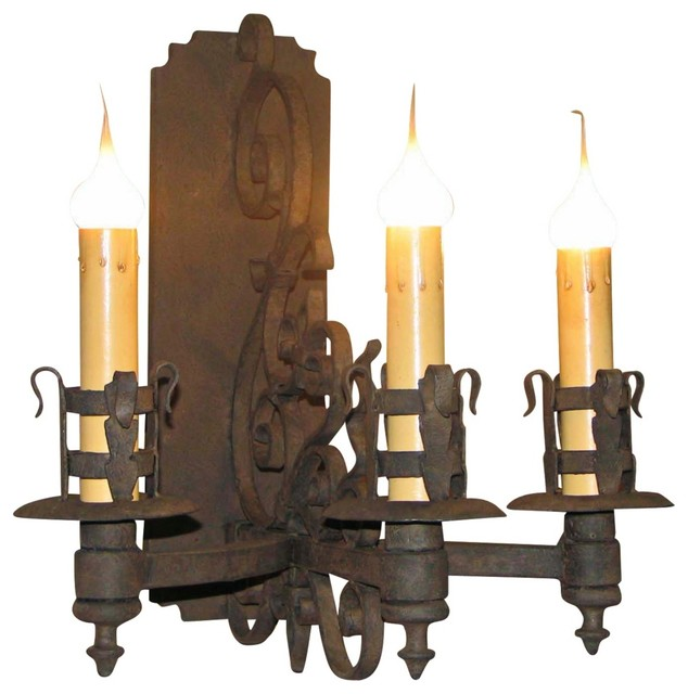 """Country - Cottage Laura Lee Gubbio 3-Light 17"""" High Wall Sconce traditional-wall-lighting"""