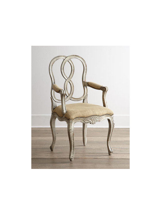 """Horchow - Two """"Ethan"""" Chairs - Whether you're looking for additional seating for the living room, dining room, bedroom—any room—this ornately designed chair rises to the occasion with stunning good looks. It features a carved frame, looped and linked open back, cabriole leg..."""