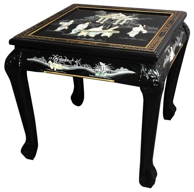 Claw foot end table black mother of pearl ladies for Japanese bedside table