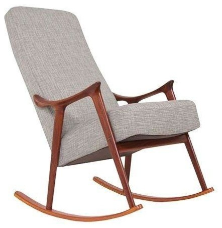 owned danish modern teak rocking chair midcentury rocking chairs