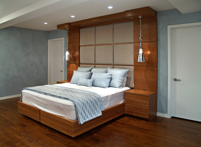 contemporary built in cherry bed and headboard. Black Bedroom Furniture Sets. Home Design Ideas