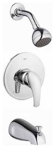 Eurosmart Tub and Shower Combination Pressure Balance Valve Trim in Starlight Ch modern-showerheads-and-body-sprays