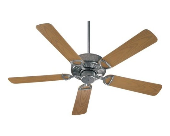 Quorum International - Estate Galvanized Energy Star 52-Inch Patio Fan - -Amps: .57/.39/.21  -Fan Watts: 68/29/8  -RPM: 168/112/65  -Motor Size: 153x15  -Motor Poles: 14  -Motor Warranty: Limited Lifetime  -Motor Lead Wire: 80  -Motor Switch Type: Hi/Med/Low/Off  -Motor Reverse Type: Slide  -Five Medium Oak Blades  -Blade Sweep: 52  -Arm Pitch: 14  -Down Rods Included: 3.5 and 6  -Ceiling to Lower Edge of Blade: 10.51  -Fan Housing Width: 11.02  -Optional remote control available.  See companioned items to order. Quorum International - 143525-9
