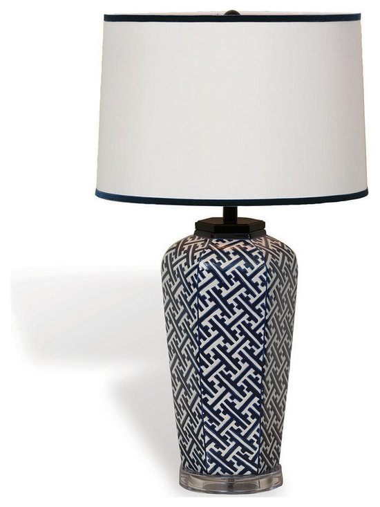 Kathy Kuo Home - Geo Modern Blue White Patterned Hand Painted Porcelain Lamp - We fell in love with an small Japanese sake jar; It was the spark we needed to design our Geo Lamp.