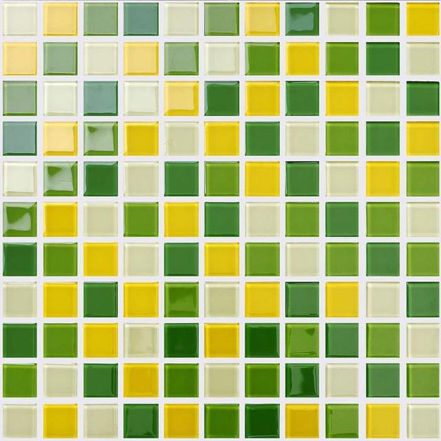 Green Yellow Crystal Glass Brick Pool Tile Bathroom Wall