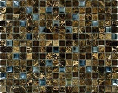 Emperador Dark Blend Mosaic Polished Glass Tile  kitchen tile