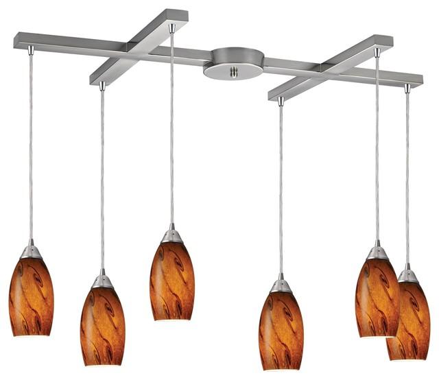 Elk Lighting 20001/6BG Galaxy Modern / Contemporary Pendant Light contemporary-pendant-lighting