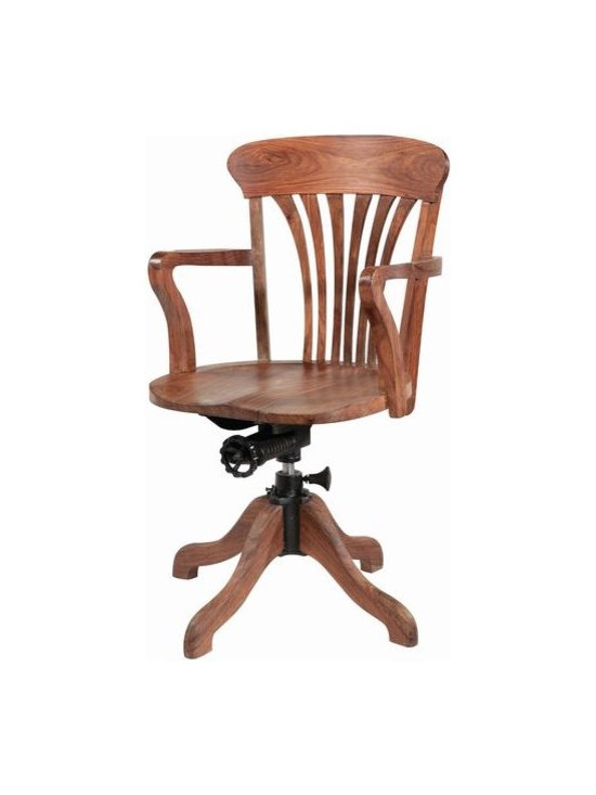 Wooden Swivel Office Chair -