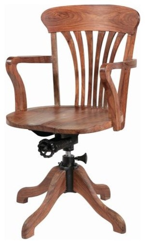 Wood Arm Chairs For Office ~ Wooden swivel office chair traditional desks and
