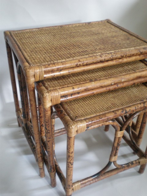 Rattan Nesting Tables ~ Rattan nesting table