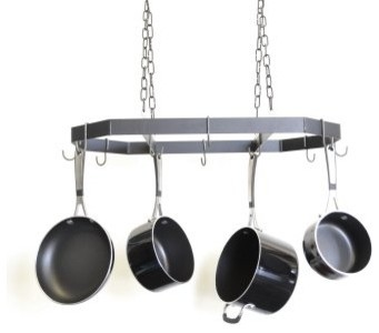 J & J Wire Octagon Hanging Pot and Pan Rack with Shelf - Modern - Pot Racks And Accessories - by ...