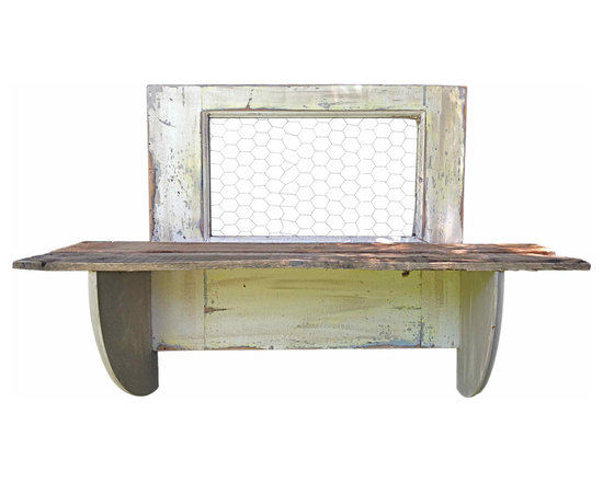 White Wood Shelf Chicken Wire - This vintage door has been paired up with rustic wood and chicken wire to create a one of a kind shelf display for your home.