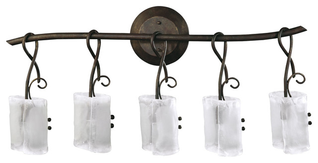 Somerset Wrought Iron Organic Sculpted 5 Light Vanity Transitional Bathroom Vanity Lighting