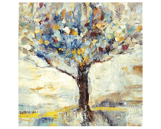 Ballard Designs - Family Tree Glass Coat Canvas - Fine art reproduction. Made in the USA. Stretched canvas over wood. With rich layers and saturated hues, Artist Jodi Maas depicts one of her favorite subjects. The tree and ground are illuminated by the sun, producing warm golden highlights. Digitally printed onto gallery-wrapped canvas and given a gel finish applied by palette knife to capture all the texture of the original.Family Tree Canvas features: . . .