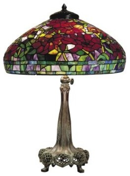 Dale Tiffany Red Peony Replica Table Lamp modern-table-lamps