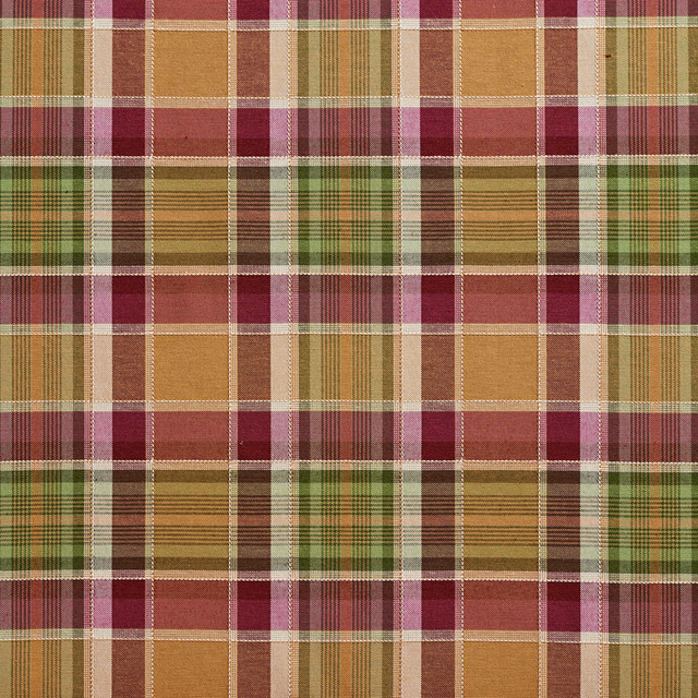 Purple and Green Country Plaid Upholstery Fabric By The