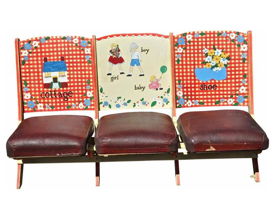 Hand Painted Theatre bench - This is an adorable vintage Theatre bench. Seats are leather and as found.The bench is made of wood.