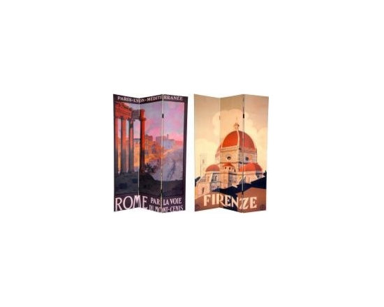 Functional Art/Photography Printed on a 6ft Folding Screen - 6ft tall three panel folding screen divider. On the front is a wonderful image of the famous domed Florentine cathedral, or Duomo, the Santa Maria del Fiore. The back depicts a lovely hilltop view from the Palatine Hill, looking down through ancient Roman ruins.