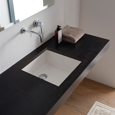 ... White Ceramic Under-Mount Sink by Scarabeo contemporary-bathroom-sinks