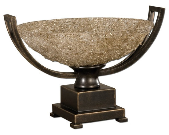 Uttermost - Uttermost Crystal Palace Centerpiece Decor Accesory - 19490 - Hand rubbed oil bronze patina with cracked refractive glass bowl.