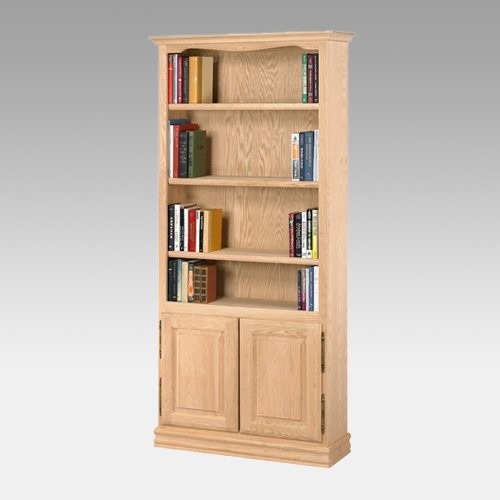 A & E American Oak Heavy Duty Unfinished Bookcase with Doors traditional-bookcases