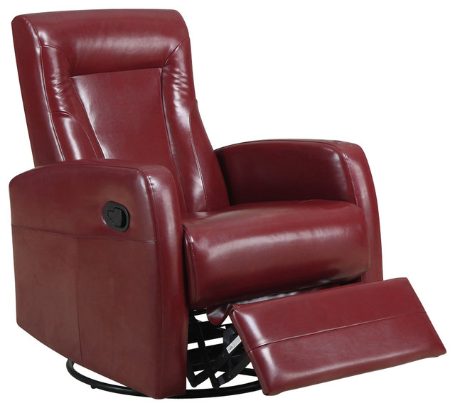 swivel rocker recliner in red leather traditional recliner chairs