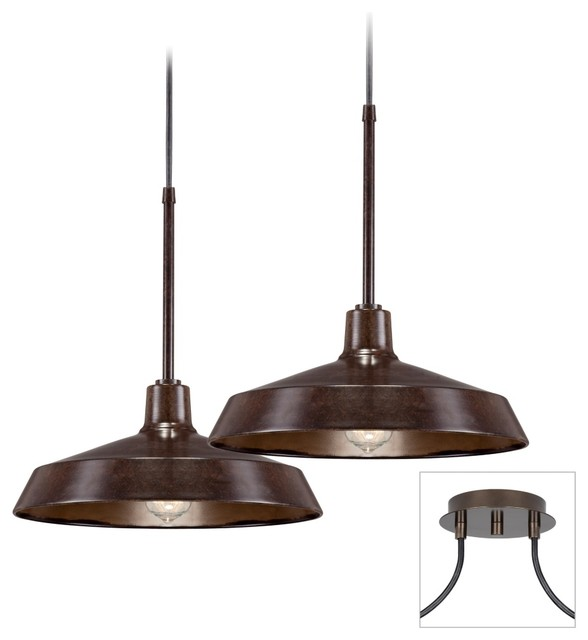 Industrial 2 Light Tiger Bronze Multi Light Pendant Farmhouse Chandeliers