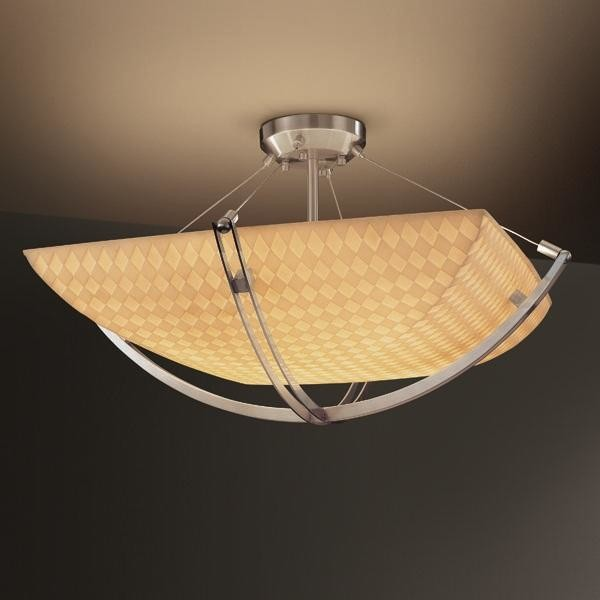 "Justice Design PNA-9711-25-CHKR-NCKL 18"" Semi-Flush Bowl w/ Crossbar Porcelina ceiling-lighting"