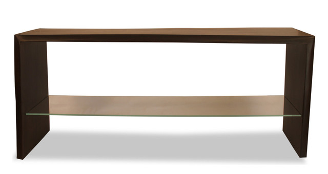 Natural Edge Solid Wood Console with Glass Shelf - contemporary ...