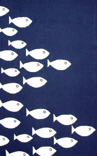 Novelty outdoor 8 39 x10 39 navy hand hooked area rug fish for Fish area rug