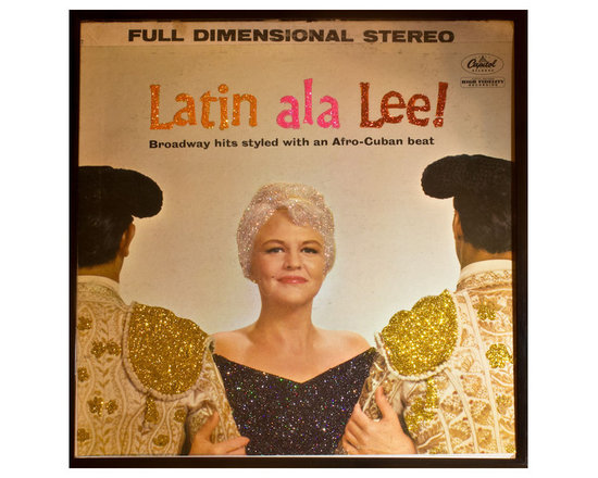 "Glittered Peggy Lee Latin ala Lee Album - Glittered record album. Album is framed in a black 12x12"" square frame with front and back cover and clips holding the record in place on the back. Album covers are original vintage covers."
