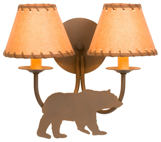 Sconce - Double - BEAR - Rustic - Wall Sconces - by Steel Partners Inc