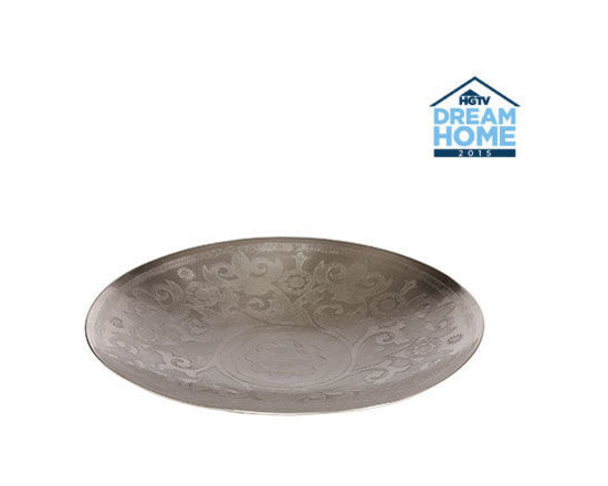 Ethan Allen - Round Cosina Tray - A visionary fusion of Eastern baroque design and contemporary form. This exquisite piece is handcrafted in Moradabad, India (renowned for its handcrafted brass art wares and jewelry). Its clean, concave shape is sculpted from fine brass and then etched with a beautiful ornamental pattern - all by the hands of skilled artisans. It is then galvanized with a matte-nickel finish and protected with a lacquer for everyday use.