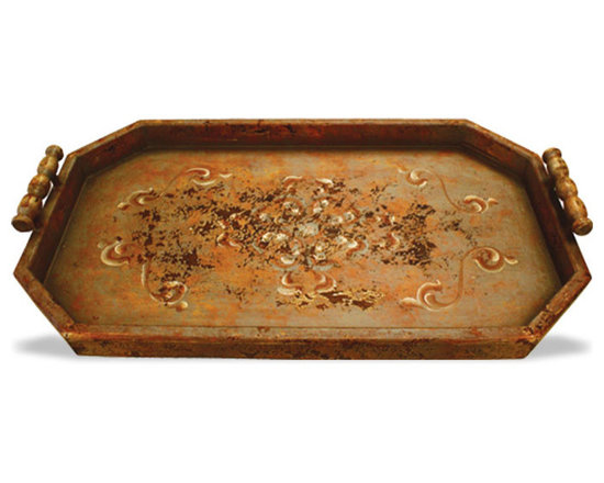 Accessory Trays - This accessory tray features a soft distressed scroll design and is available in a variety of finishes. See more at www.KoenigCollection.com
