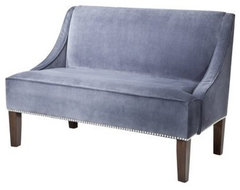 Swoop Upholsterd Settee Loveseat Bench, Slate Velvet With Nailhead contemporary benches