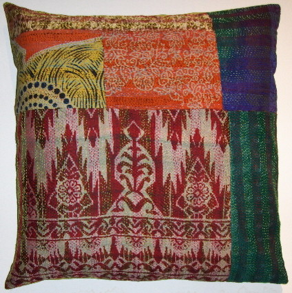 patchwork vintage sari kantha pillow covers  pillows