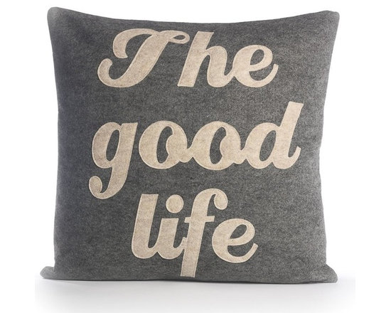 Alexandra Ferguson - Alexandra Ferguson The Good Life Pillow-Heather Grey/Oatmeal - Available in small and largeRecycled polyester fill insert included. The felt that I use is made from 100 percent post consumer recycled water bottles. So, you drink water, throw the empty bottle in the recycling bin. Then they are melted down and turned them into this beautiful, really high quality soft felt that I then use to make pillows. All pillows have a nylon zipper closure, with the alexandra ferguson logo embroidered on the center back bottom. Prefer a woven fabric base? Opt for our hemp blend - this imported fabric is 55% hemp / 45% organic cotton, is sustainable and biodegradable, and made from socially responsible practices.