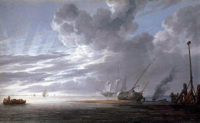 "Simon De Vlieger Seascape in the Morning - 16"" x 24"" Premium Archival Print traditional-artwork"