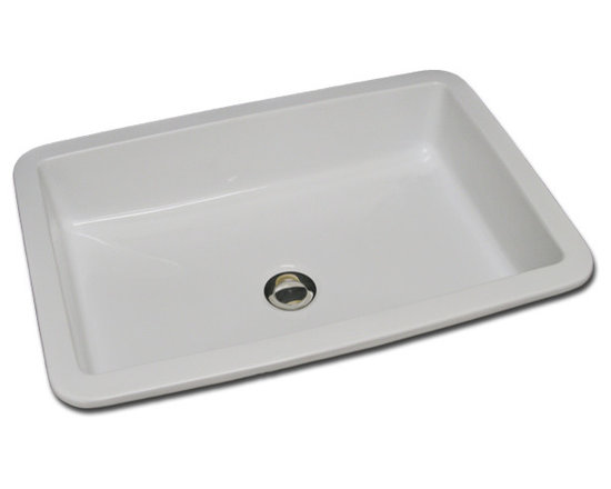 Rectangle with Flat Bottom - ED-79-100, 16 1/2 x 22 3/4 outside this rectangle sink with flat bottom, shown here in bright white gloss, can be under mounted, flush mounted or droped-in. Available in white or off white, matte or gloss.