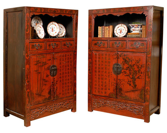 Current Inventory for Purchase - 19th Century Rare Pair of Red Hand Painted Qing Dynasty Cabinets