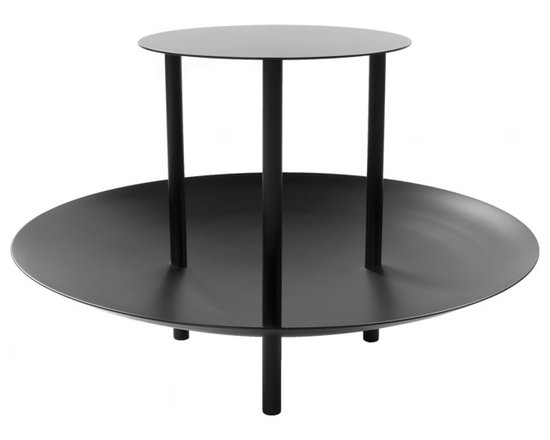 Fferrone Design - Magazine Table - Fferrone Design - Innovative and modern, the Magazine Table creates a new face for the traditional accent table. The top has the same function as any accent table but the dish shaped bottom uniquely creates a space for magazines, toys, books or anything else you would want to keep within arms reach. This original table is made of powder coated steel and comes in 5 colors, Signal Yellow, Matte Black, Telegraph Gray, Blue Gray and Purple Violet.