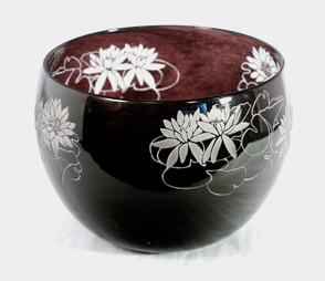 Black/White Waterlilies Bowl modern-artwork