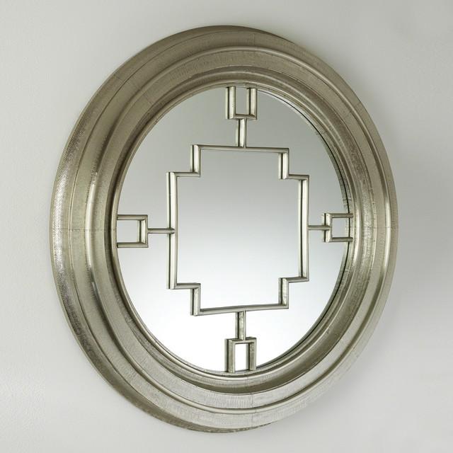 Global Views Sunburst Mirror Nickel: Global Views Arabesque Round Mirror